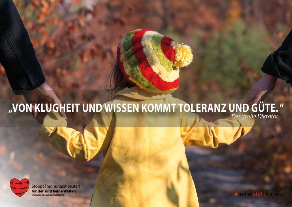 """""""Von Klugheit und Wissen kommt Toleranz und Güte."""" Der große Diktator"""